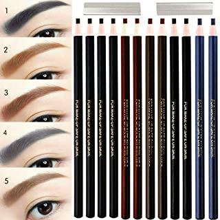 12 Piece Waterproof Eyebrows Pencil Tattoo Makeup And Microblading Supplies Kit-Permanent Eye Brow Liners In 5 Colors(Black, brown, gray) Waterproof Eyebrow Pencils Peel - Brow Pencil Set For Marking