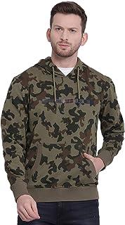 t-base Olive Printed Hooded Sweatshirt-Sweatshirts for Men