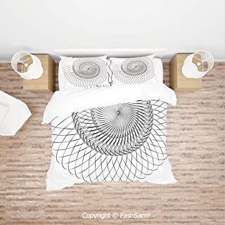 FashSam 4 Piece Bedding Sets Breathable Geometric Helix Spiral Like Underwater Shell with Chambers Cyclic Art Print for Home(Double)