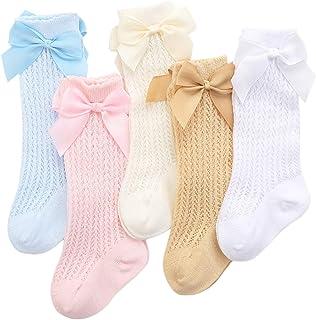 Juego de 5 calcetines de algodón hasta la rodilla, para bebé, niña, para uniforme escolar, de 0 – 3 años