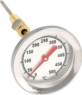 Lantelme, termometro in acciaio inox a 500 °C, sonda da da 15 cm, con cono in ottone per il fissaggio al barbecue a carrel...