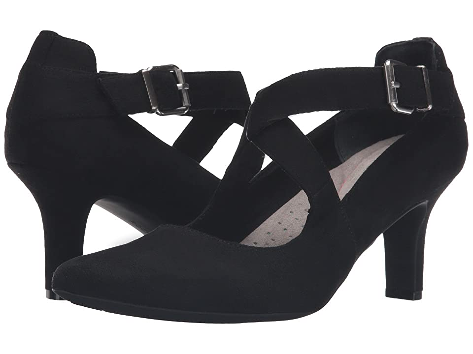 Rockport Sharna Cross Strap (Black Micro Suede) High Heels