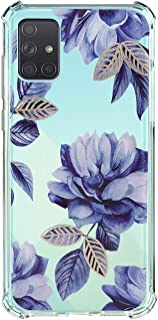 Compatible for Samsung Galaxy A71 4G Case Clear Cute Flower Floral Protective Cover Slim Flexible TPU Rubber Case Soft Silicone Shock-Absorption Case Cover for Galaxy A71