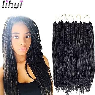 Lihui 7Pcs/lot Box Braid Hair Crochet Box Braids Box Braiding Hair Synthetic Hair 20 Strands/pack (24Inches,#1B Color)