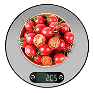 Digital Kitchen Scale,Thin& Round Design (0.3in),11lb/5 kg Multifunctional Food Scale, Units are g/lb/oz/ml, Baking & Cooking 1g/0.1oz Precise Graduation, 304# Stainless Steel Surface and LCD Display