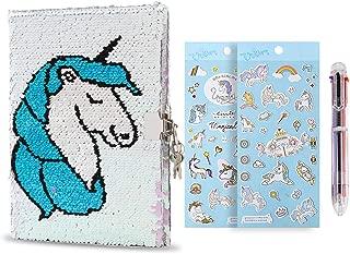 Unicorn Sequin Notebook with Lock&Key,Mermaid Reversible Sequin Journal, Magic Travel Journal Notebook with Pen & 2 Unicorn Stickers,Great Unicorn Gifts for Girls (Blue&Purple)