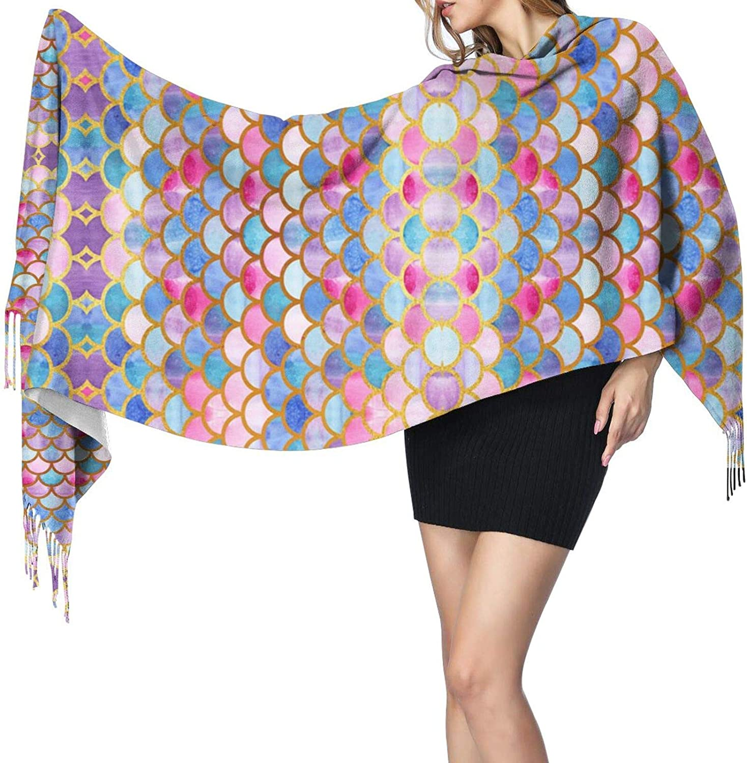 Colourful Fish Scale Cashmere Feel Scarf Lightweight Soft Scarfs For Boys Girls Creative Warm Cold Weather Blanket Scarf
