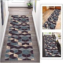 Runner-tapijt voor gangen Geometrische patronen, breedte 60 cm / 80 cm, antislip wasbaar, lengte aanpasbaar, voor gangzaal...