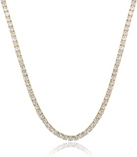 GMESME 18K Gold Plated 4.0mm Cubic Zirconia Classic Tennis Necklace 18 Inch