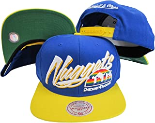 Mitchell   Ness Denver Nuggets Diaganol Script Blue Yellow Two Tone Plastic  Snapback Adjustable Plastic 9e155cb1065