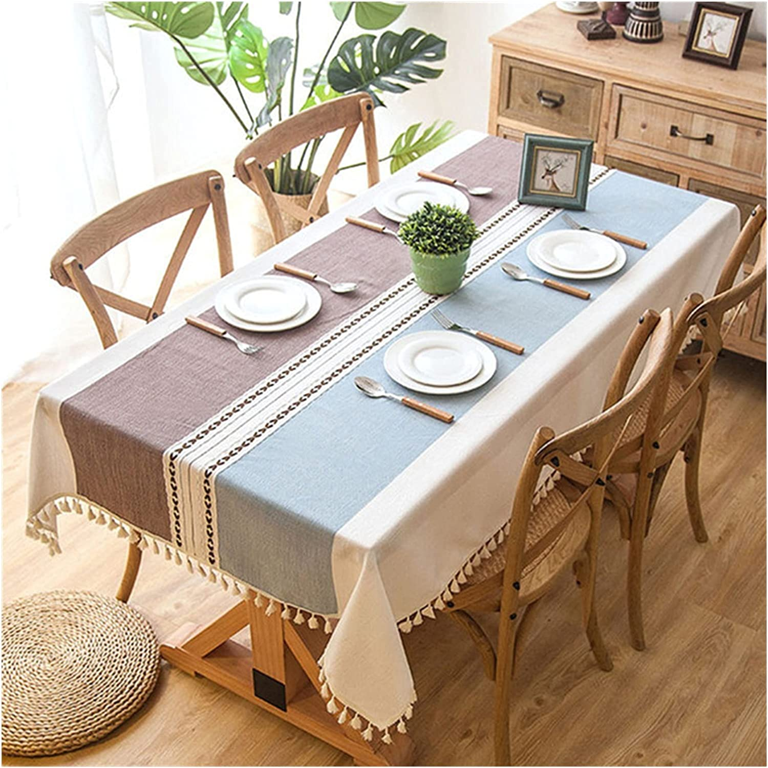 MGGZ Plaid Decorative Max 63% OFF Linen Tablecloth Free shipping on posting reviews Oi with Waterproof Tassel