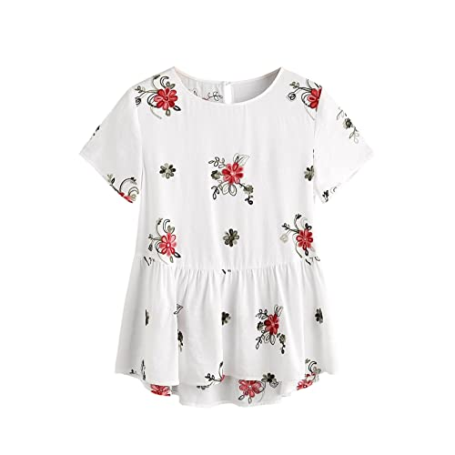 be7be918c SheIn Women's Loose Flower Embroidered Ruffle Hem Keyhole Back Babydoll Top  White 2X-Large