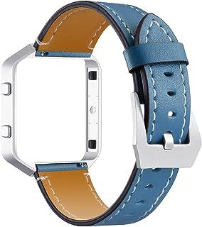 KangPlus Bracelet de montre pour Fitbit Blaze en cuir véritable souple avec boucle en métal et cadre réglable de 14 à 20,3...
