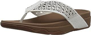 FitFlop Womens I39 Leather Lattice SurfaTM Floral Flip Flops