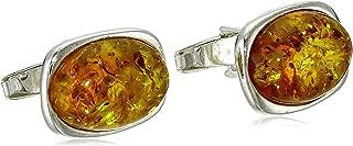 Men's Sterling Silver Honey Amber Large Oval Cufflinks