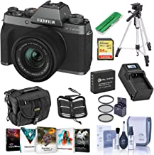 $765 » Fujifilm X-T200 Mirrorless Digital Camera - Dark Silver with FUJINON XC 15-45mm f/3.5-5.6 LENS - Bundle With Camera Case, 64GB SDXC Card, Spare Battery, Compact Charger, Tripod, Software Package, More