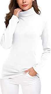 Women's Turtleneck Sweater Cable Knitted Solid Pullover Top