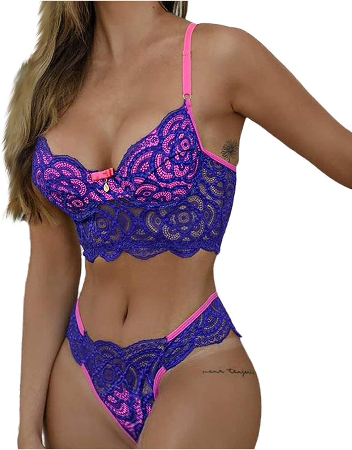 VonVonCo Sexy Lingerie for Women Ladies Fashion Two Piece Underwear Thong Bra Set Color Matching Embroidery Sexy Lingerie