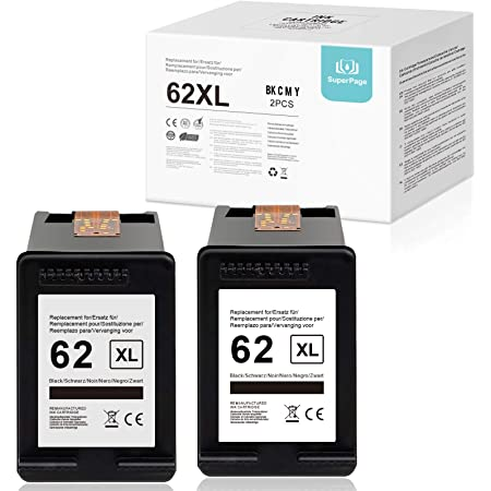 Superpage 62XL - Cartucce d'inchiostro rigenerate compatibili con HP 62 XL nero per HP Envy 7640 7645 8000 8005 5642 5643 5644 5646 5660 5665 Officejet 5740 5742 5745745745 57466 8040 8045.