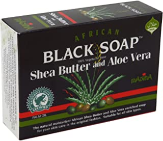Madina African Black Soap Shea Butter and Aloe Vera, 3.5 oz(Pack of 6)