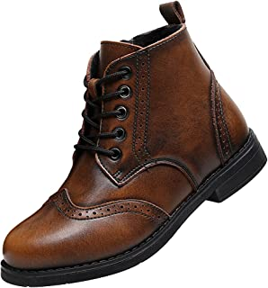 rismart Boy's Kid's Brogues Ankle High Dress Winter Leatherette Boots