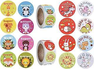 OnceNext 1000 Pcs Teacher Motivational Stickers for Kids,deal Stickers for Kids Behavior incentives1 Inch,Cute Animal Stic...