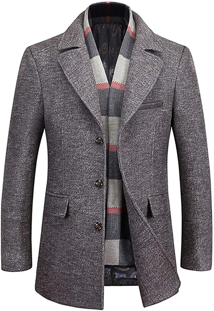 WULFUL Men's Wool Trench Coat Winter Slim Fit Pea Coat with Free Removable Plaid Scarf