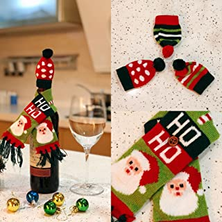 FEFEHOME Christmas Ugly Sweater Wine Bottle Cover Scarves and Hats Gift Bags (B)Set of 3