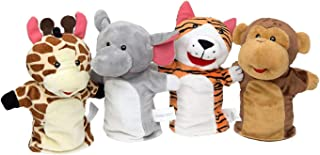 Best Imaginative Play Hand Puppets Set -Elephant, Tiger, Giraffe, Monkey Plush Animal Toys for Kids Babies and Toddlers Review