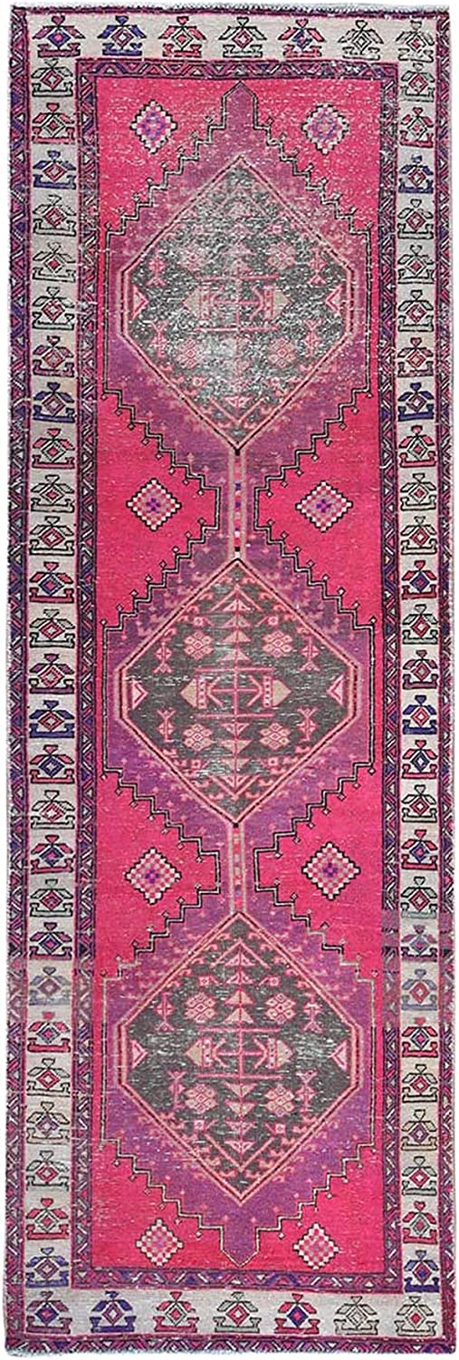 Shahbanu Rugs Old Worn Down Coral Sale item Pink Knot Hand Free shipping anywhere in the nation Hamadan Persian