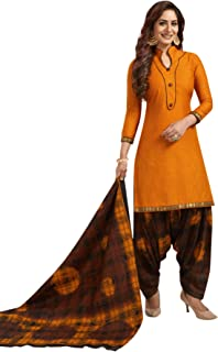 S Salwar Studio Women's Orange & Brown Cotton Printed Readymade Patiyala Suit Set-SSCELEBRATION-1009
