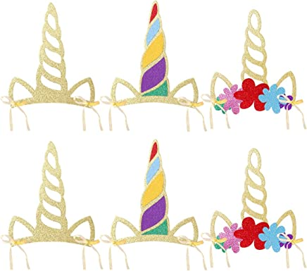 LUOEM Einhorn Horn Hüte Glitter Einhorn Horn Party Hüte Einhorn Stirnband Party Supplies Geburtstag Hut für Kinder und Erwachsene, Pack von 12