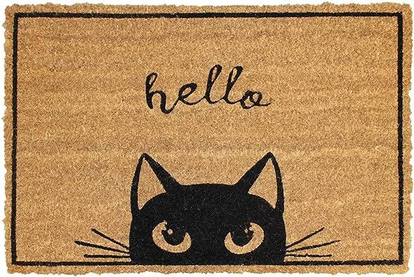 世界买家装饰椰子纤维椰壳橡胶门垫防滑地垫室内外地毯面积地毯 23 62X15 75 L 凯蒂猫