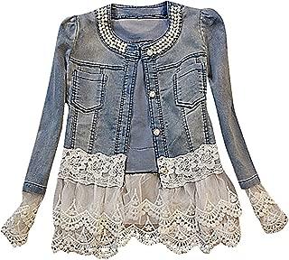 Women's Light Blue Mid Wash Tiered White Lace Mesh Applique Denim Jacket