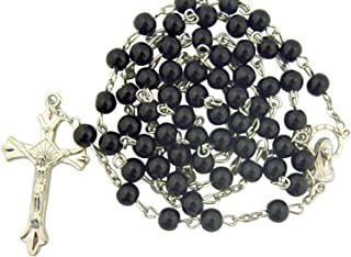 CB Black Glass Beads Rosary, 6mm Beads, Great for Men or Boys