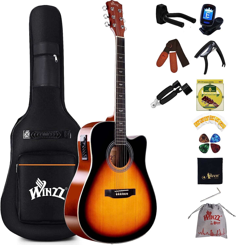 Winzz Set de guitarra acústica eléctrica 4/4, guitarra acústica para adultos principiantes, 100 cm, con ecualizador de 4 bandas (Dreadnought, brillante)