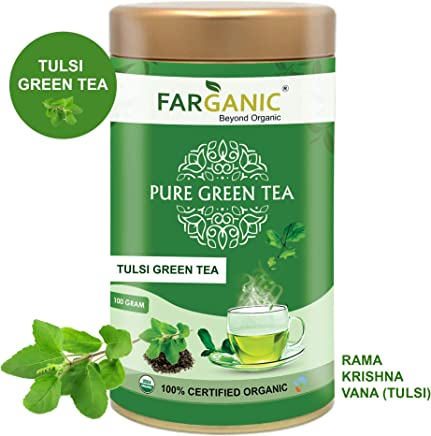 Farganic 100% Certified Organic Tulsi Green Tea. 100 Gram Loose Tea in Tin Box. Green Tea with Rama Krishna and Vana Tulsi.