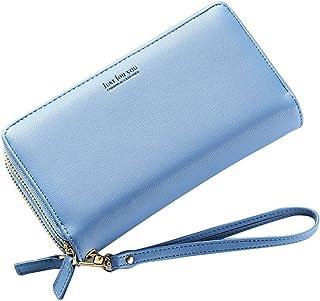 New Women's Wallet Handbag Large Capacity Double Zipper Long Paragraph Simple Hand Take Purse Bag (Color : Blue, Size : S)