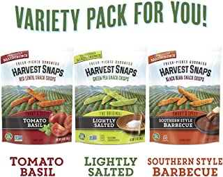 Harvest Snaps Veggie Snack Crisps Variety Pack, 3.0 Oz - 3Count, Gluten-Free, Baked & Crunchy Vegetarian Snack With Plant Protein & Fiber