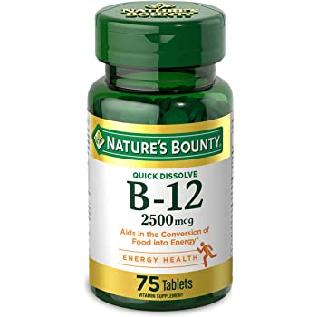 Vitamin B12 by Nature's Bounty, Quick Dissolve Vitamin Supplement, Supports Energy Metabolism and Nervous System Health, 2500mcg, 75 Tablets