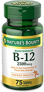 Vitamin B12 by Nature's Bounty, Quick Dissolve Vitamin Supplement, Supports Energy Metabolism and Nervous System Health, 2...