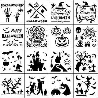 Halloween Stencil Templates - 16 Pack Halloween Letter Image Stencils for Pumpkin Carving, Crafts Making and Face Painting, Reusable Plastic Stencils for Halloween Wood Signs & Decoration Ideas