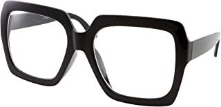 XL Black Thick Square Oversized Clear Lens Glasses - Men and Women Costume or Fashion