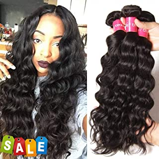Dinoce Compatible with Longqi Brazilian Natural Wave Virgin Hair 3 Bundles 20 18 16 Inch-10A Unprocessed Remy Human Hair Weave Natural Wavy Full Head for Black Women 300g Natural Color