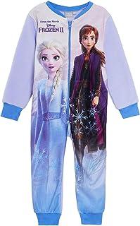 Disney Frozen Girls Pyjamas, Onesie with Anna and Elsa, All in One Jumpsuit