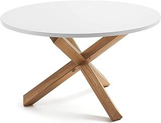LF - Table de salle à manger Nori diamètre 120 cm plateau blanc pied bois