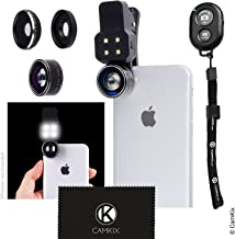 Camera Lens Kit with LED Light for Smartphone/Tablet, Bluetooth Remote - Fisheye, Wide Angle and Macro Lens - for Apple iPhone, Samsung Galaxy and Many More (not for iPhone 8/7 Plus, BT Remote)