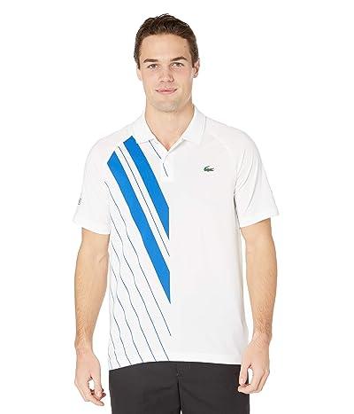 Lacoste Short Sleeve Stripe Print Polo (White/Nova Blue) Men