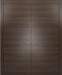 Modern Double Pocket Closet Doors 48 x 80 | Planum 0010 Chocolate Ash | Pocket Frame Trims Pulls Rail Hardware | Solid Wood Interior Sliding Closet Door |