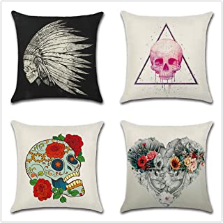 Vienlove Skull Pillow Cover 18 x 18 inch Set of 4 Cotton Linen Decorative Pillowcases Skeleton Head Throw Pillow Covers Set for Outdoor/Sofa/Couch/Bed/Car